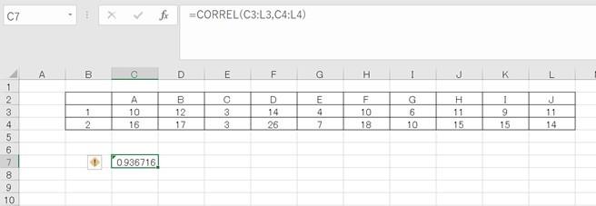 エクセルで計算した相関係数