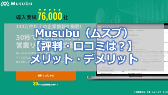 Musubu(ムスブ)【評判・口コミは?】メリット・デメリット【使い勝手抜群の営業リスト作成サービス】